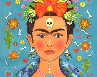 """Signed A4 Limited Edition Giclee Print """"Frida's Heart"""" for lovers of Frida Kahlo and the Mexican Day Of The Dead! By Laura Robertson"""