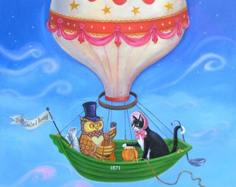"""Signed Limited Edition Giclee Print """"Bon Voyage"""" lovers of The Owl and the Pussycat! By Laura Robertson"""
