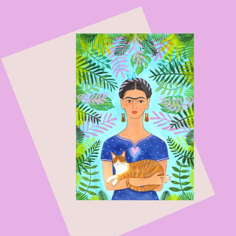 Frida Kahlo Greetings Card A6 Frida and Ginger Cat image 0