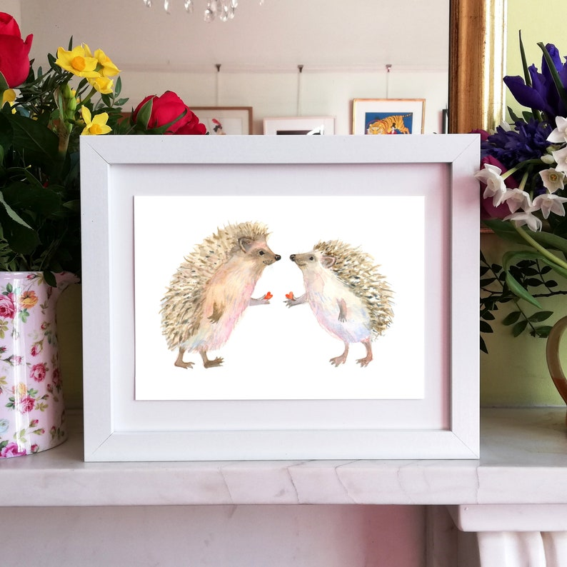 Hedgehog Love A5 Signed Giclee print a lovely gift for image 0