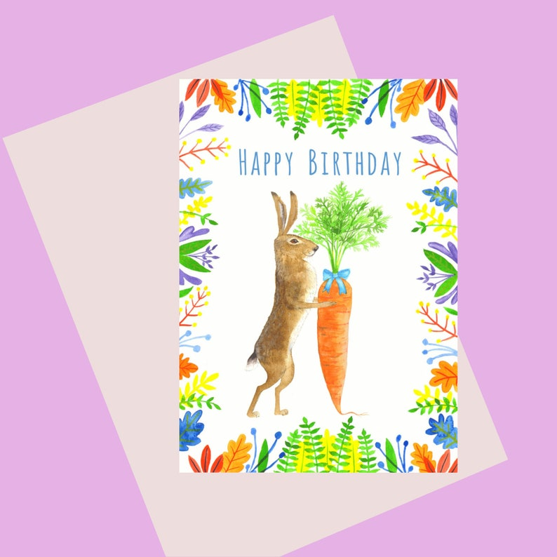 Rabbit And Carrot A6 Birthday Card for those who love image 0