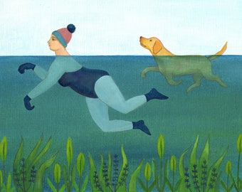 Doggy Paddle, a quality A4/A5 signed Giclee print, a woman swims with her dog in a doggy paddle style, wild swimming, swimming dog print