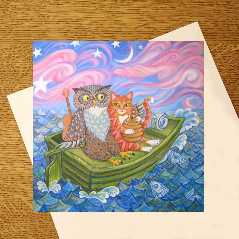 The Owl And The Pussycat greetings card from an original image 0