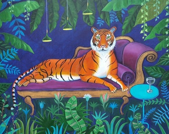 Chaise Lounge Tiger, an A5/A4 quality giclee print, tiger wall art, a lovely gift for any tiger lover and great wall decor for any room