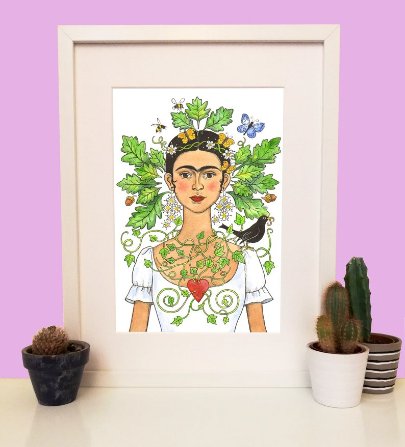 Green Frida Frida Kahlo A4 signed limited edition giclee image 0