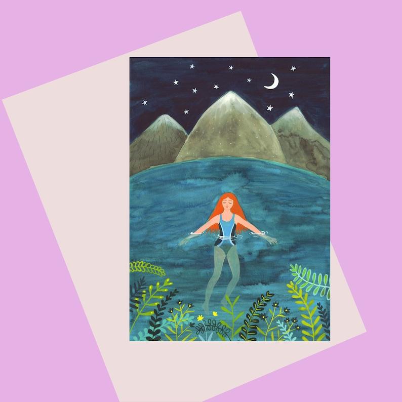 NEW CARD: Night Swimming a lovely A6 greeting card of a woman image 0