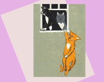 Cat Lovers, A6 Greetings Card, for Banksy and love cats lovers! A puurfect valentine card, Available plastic free, and the BEST Bristol card