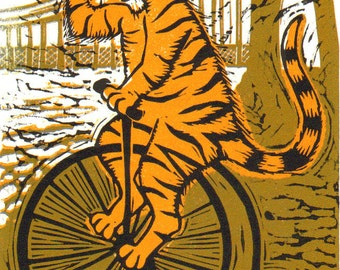 "Handmade lino print limited edition ""Brunel Tiger"" for those who love tigers in top hats riding bicycles in Bristol, UK! By Laura Robertson"