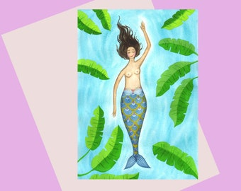Mermaid, a quality A6 colourful greetings card, for mermaid lovers, a card for any occasion, available plastic free, swimming card
