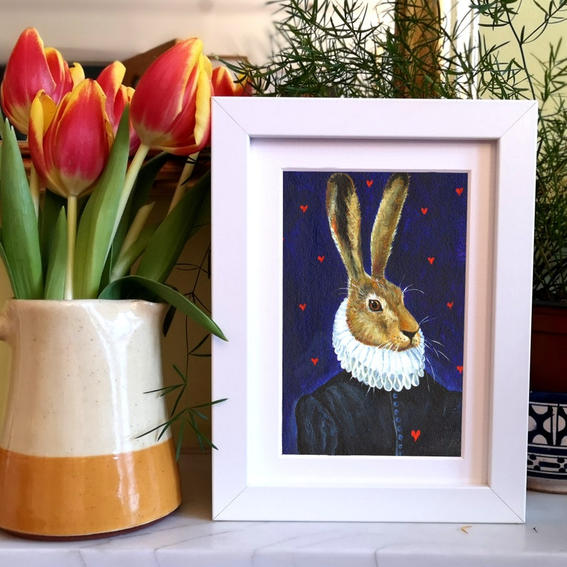 Tudor Hare/ A5 Giclee Print/A Handsome Hare With White Ruff/ A image 0