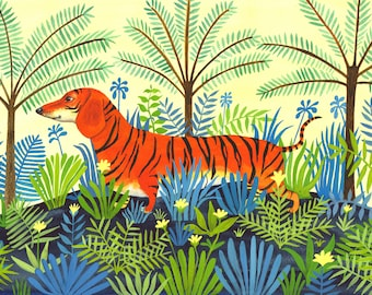 Tiger Dachshund, a quality signed A4 Giclee print, a quirky, mixed up animal print for tiger / dachshund lovers
