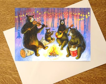 Musical Bears, A6 size greeting card, for bear/music lovers, bears playing musical instruments in a forest, a perfect card for any occasion