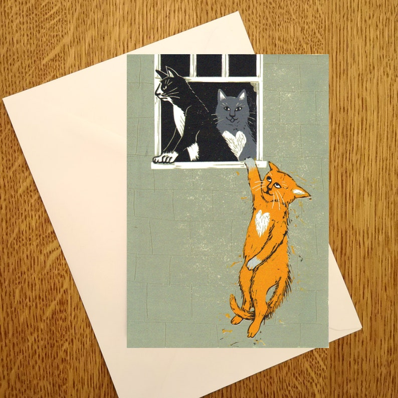 Cat Lovers A6 Greetings Card for those who love Banksy and image 0