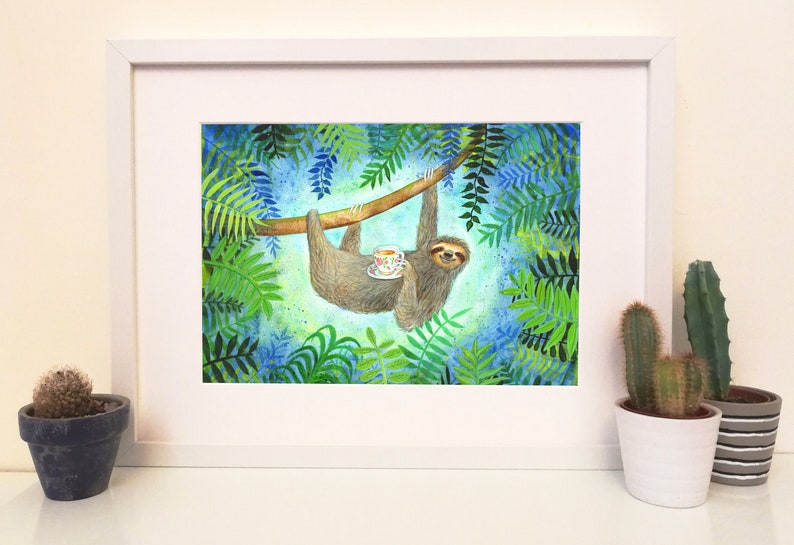 Sloth print Perfect For Sloth Lovers/Tea Lovers/Tea Break/By image 0