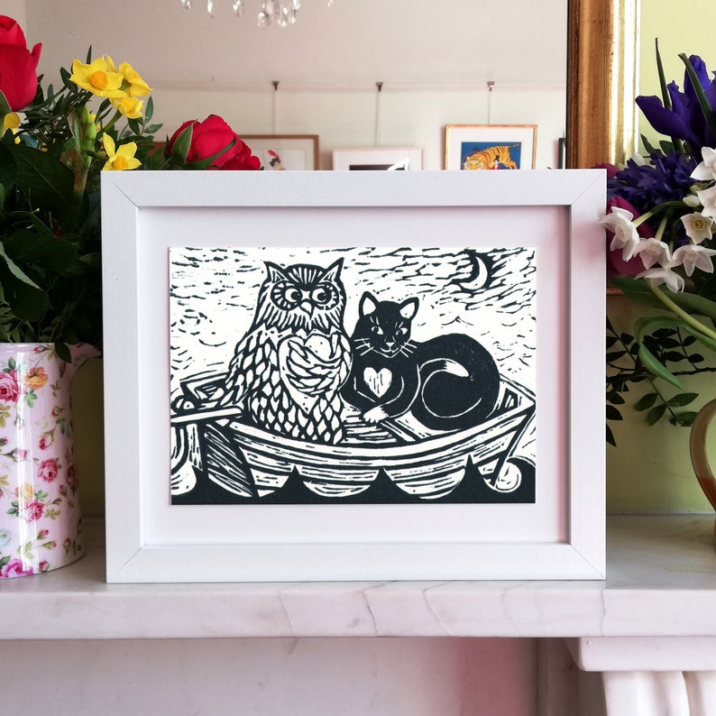 The Owl and Pussycat Linocut Print/ Handmade Limited Edition image 0