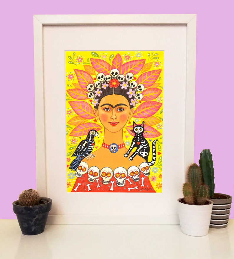 Frida Kahlo Print A4 Frida And Friends signed image 0