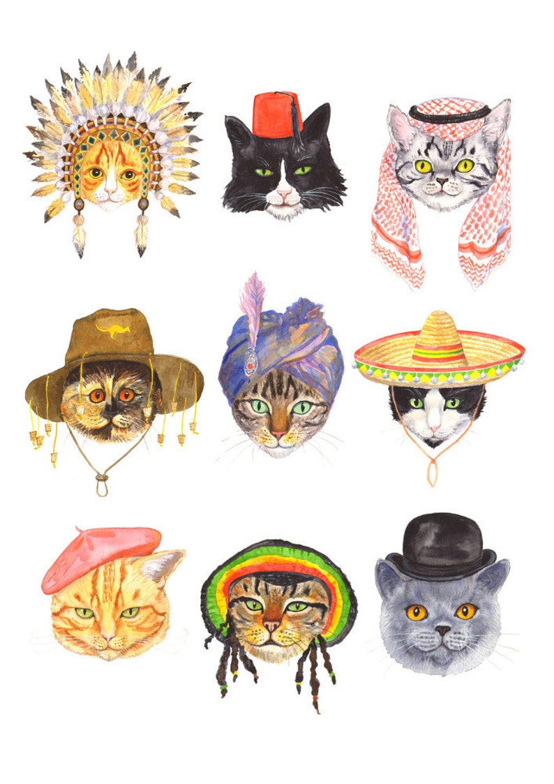 Signed A4 Giclee limited edition print Cats In image 0