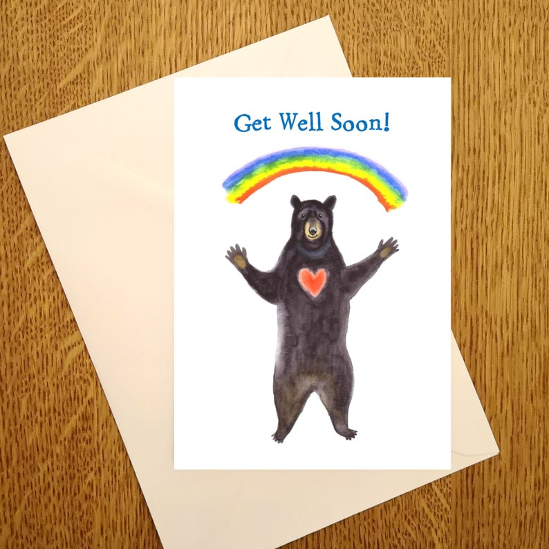 Rainbow Bear Get Well Soon Card By Laura Robertson. Available image 0