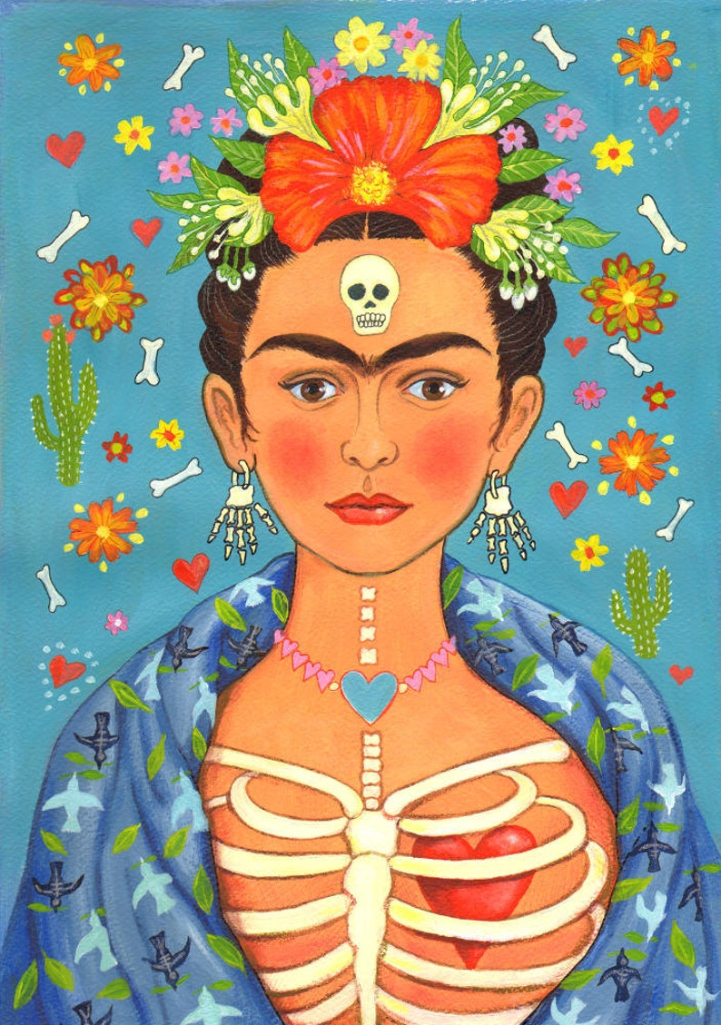 Frida Kahlo print Frida's Heart A4 signed by image 0