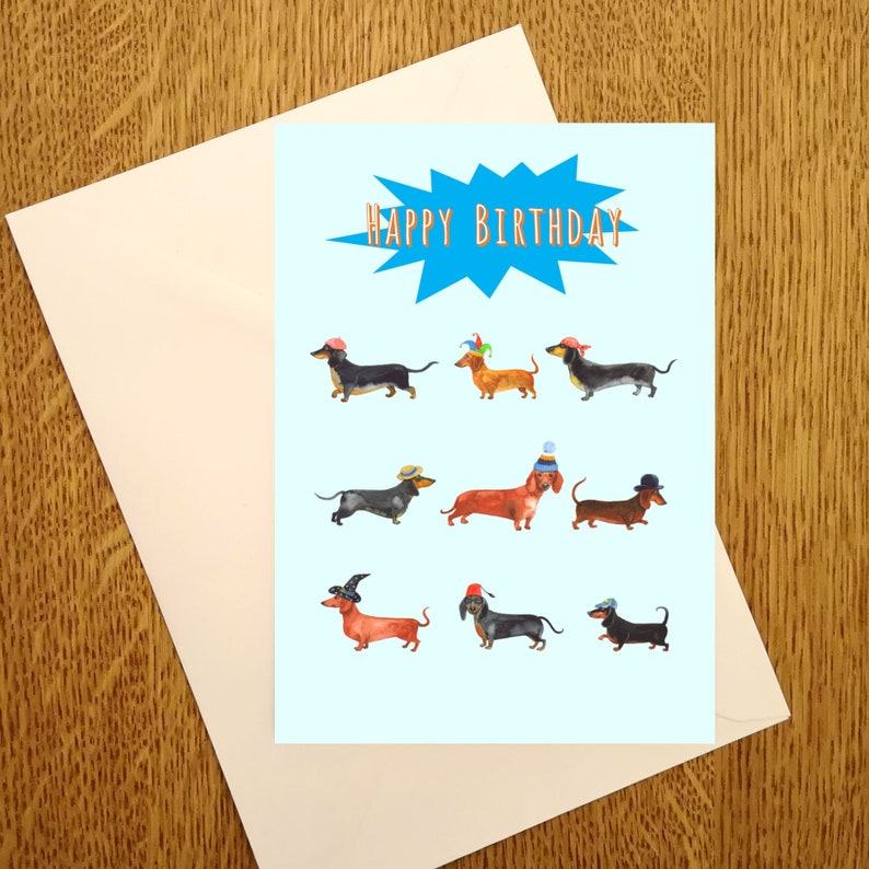 Dachsund Happy birthday A6 Greetings Card for those who love image 0