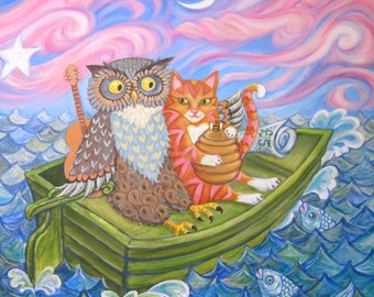 """Giclee Valentine Animal Print """"The Owl And The Pussycat"""" from an original acrylic painting. by Laura Robertson"""