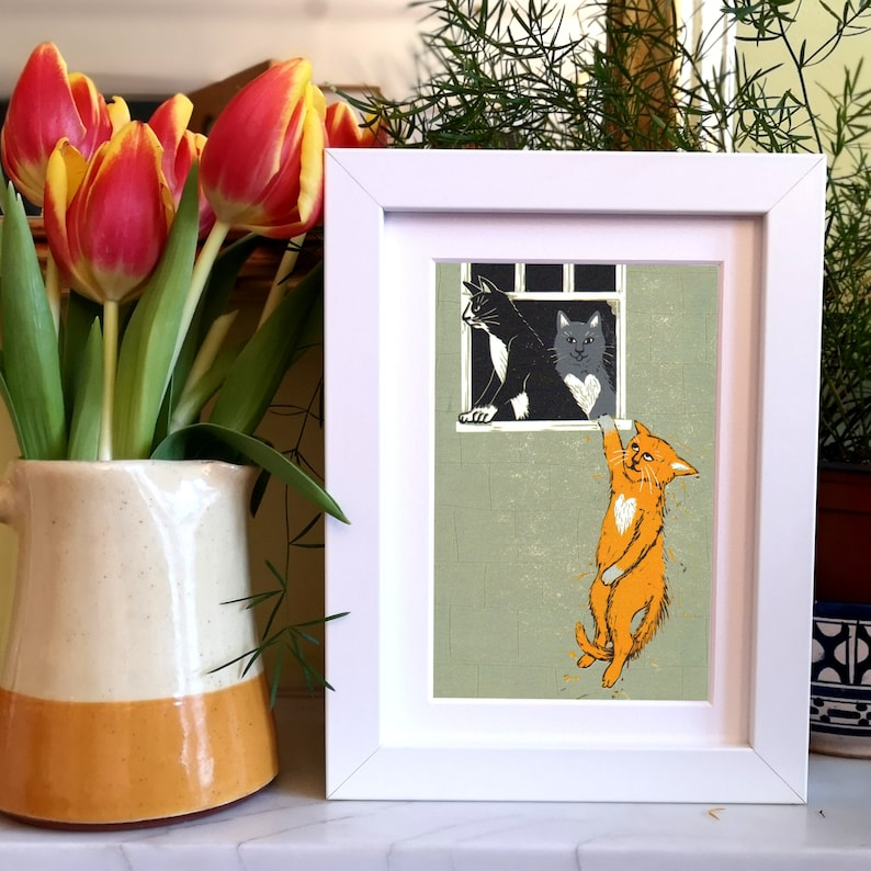 my tribute to Banksy and a purrfect gift for all cat lovers Cat Lovers Bristol Art or Valentine/'s gift a quality signed A5 giclee print