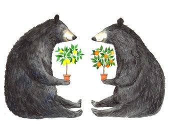 """Signed A5 Giclee Print """"Fruit Tree Bears"""" from an original watercolour painting. By Laura Robertson"""