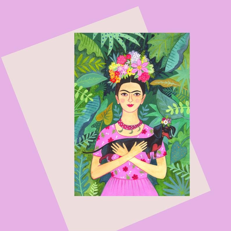 Frida card  A6 greetings card  Frida with dachshund on a image 0