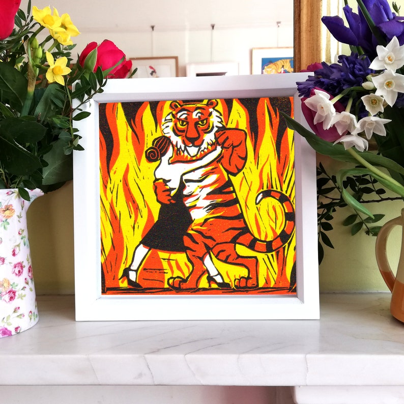 Tango tiger-Handmade limited edition signed lino print image 0
