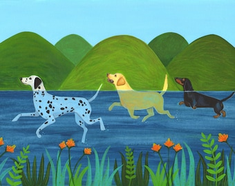 Doggy Paddle, a quality A4/A5 signed Giclee print, a lovely print of swimming dogs, for dog lovers