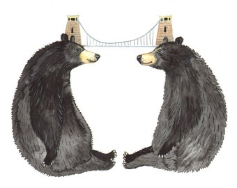 """Signed A5 Giclee Print """"Bridge Bears"""" from an original watercolour painting. By Laura Robertson"""