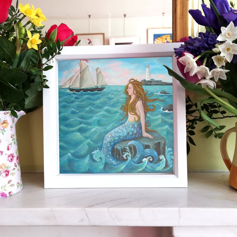Mermaid Print On the Rocks Signed  Giclee Limited image 0