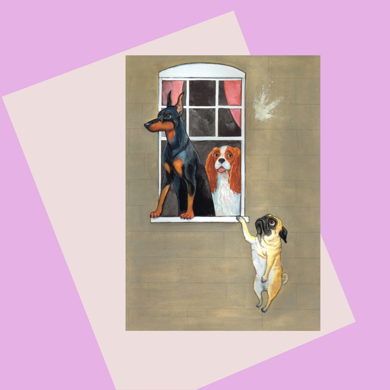 Dog Lovers A6 Greetings Card for those who love pugs King image 0