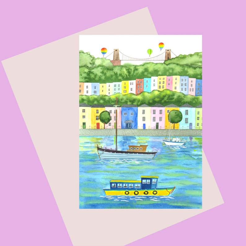 Bristol greetings card A6 featuring an iconic harbour scene image 0