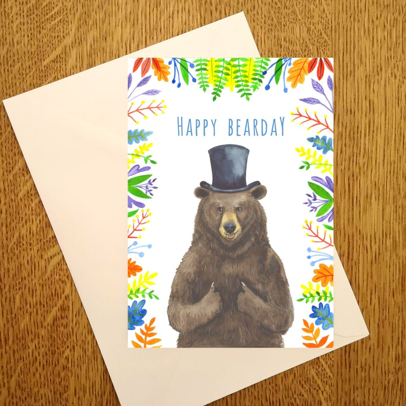 Happy Bearday A6 Birthday Card for those who love bears image 0