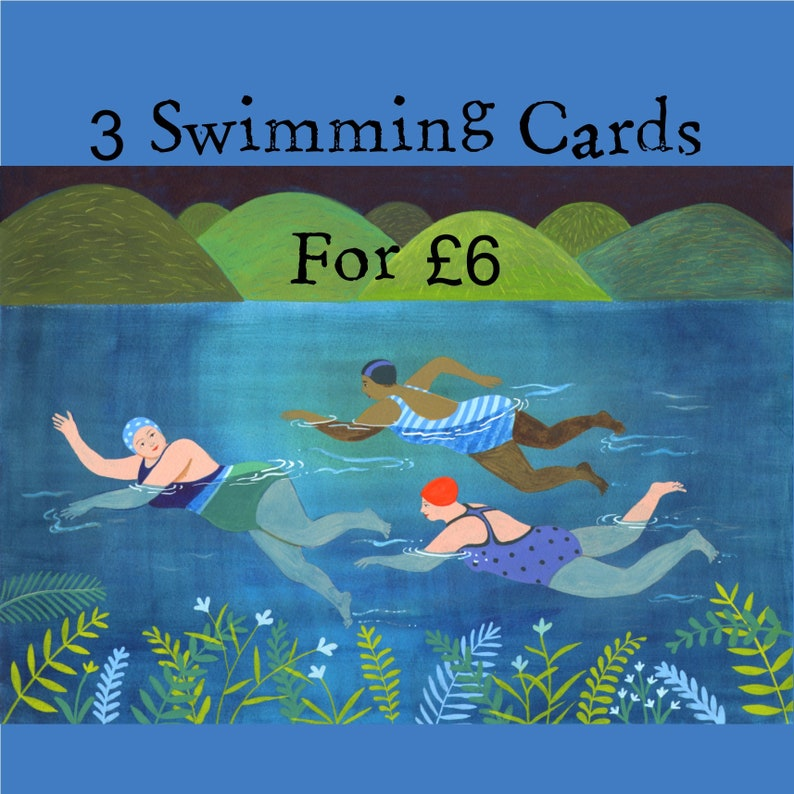 Wild swimming cards pack A6 ALL three quality cards for six image 0
