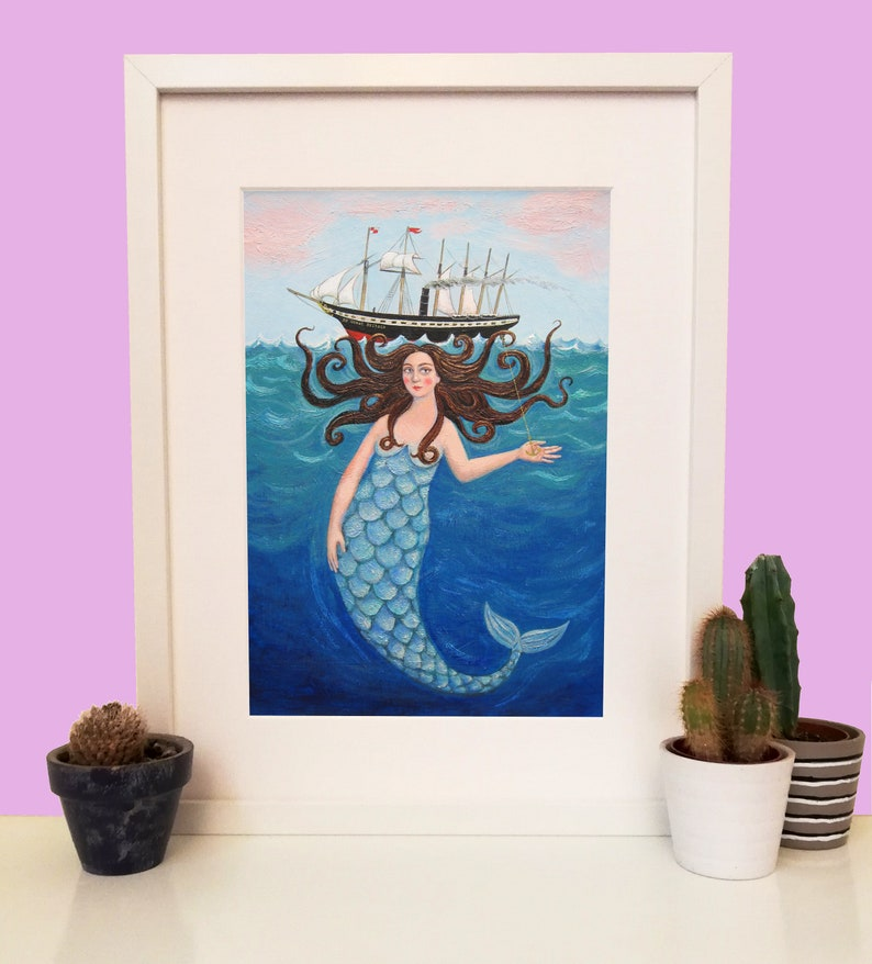 Mermaid Art Print A4 with the SS Great Britain in Bristol UK image 0
