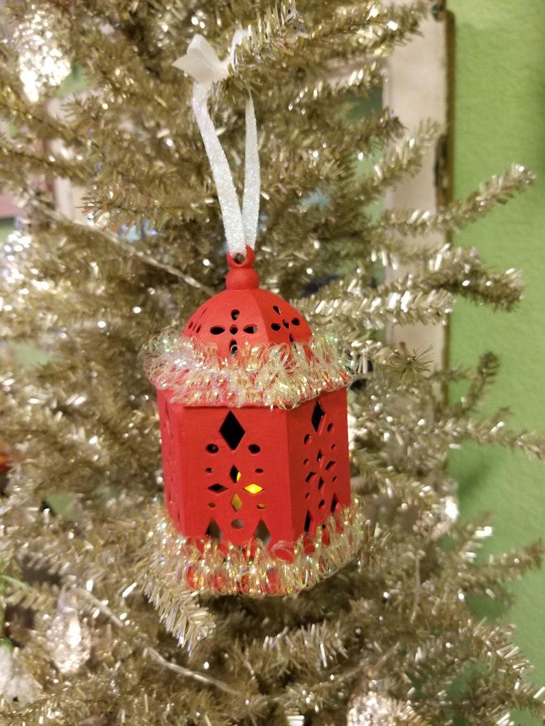 Red Christmas Lantern Ornament Battery Light Up ecs ftteam svfteam