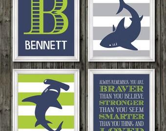 Shark Lime, Shark Wall Art, Shark Decor, Shark Art Room Decor, Shark  Nursery Art, Boys Shark Bedroom, Bedroom Sharks Theme, Boys Shark Decor