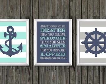 Boys Nautical Nursery Decor, Nautical Nursery Gray Navy And Aqua, Boys Nautical  Wall Art, Aqua And Navy Nautical Nursery, Baby Boy Nautical