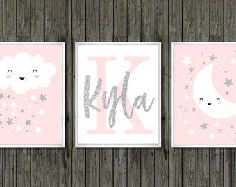Baby Girl Nursery Pink And Gray, Pink And Gray Nursery Art, Pink Girls  Nursery Wall Decor, Baby Girl Wall Art, Baby Girl Wall Decor, Baby