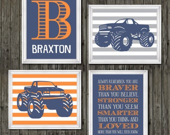Genial Monster Truck Wall Personalized Name For Boys Room Decor, Truck Theme Wall  Prints, Boys Monster Truck With Name, Toddler Truck Bedroom Decor