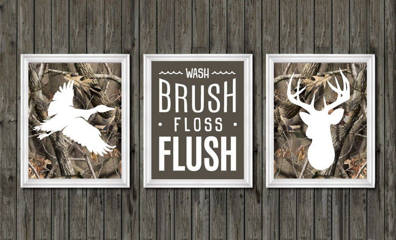 Camo Bathroom Decor Boys Duck And Deer Deer Bathroom Decor Etsy