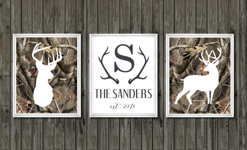 Rustic Hunting Home Decor Camouflage Buck Deer Family