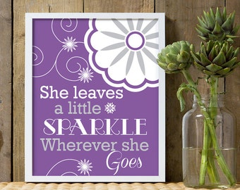 She leaves a little sparkle wherever she goes, girls purple quote, purple and gray nursery, girls purple prints, purple art prints for girls