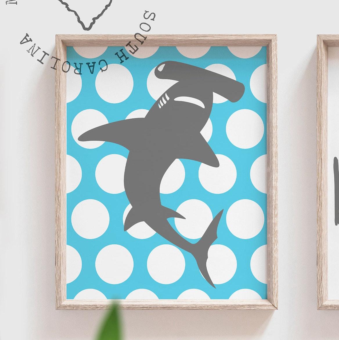 shark blue shark wall art shark decor shark art room