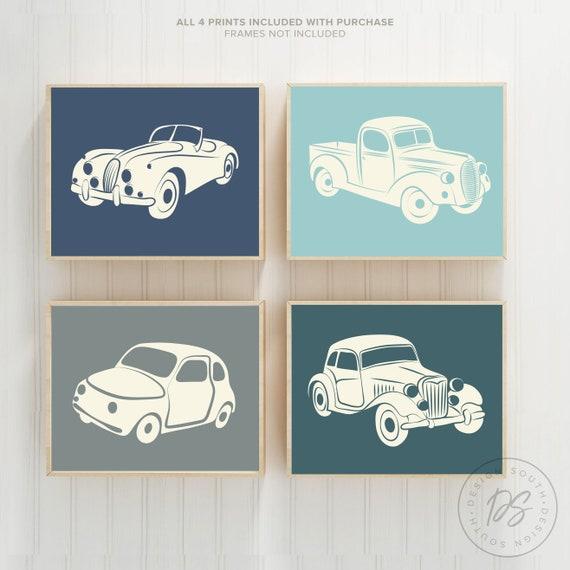 Vintage car and truck decor, vintage nursery decor, boys bedroom decor,  boys playroom decor, transportation decor boys, vintage car wall art
