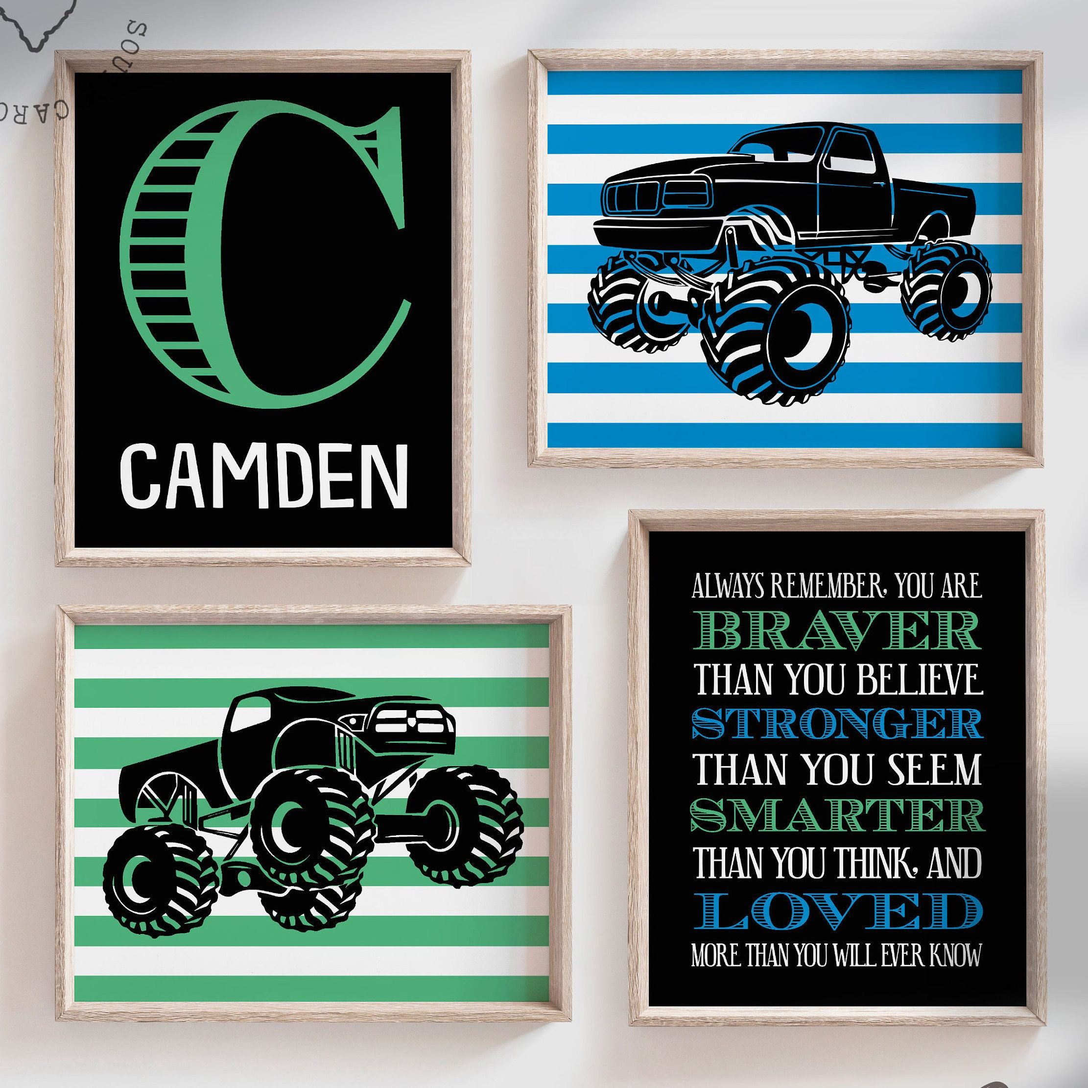 Monster truck wall personalized name for boys room decor ...