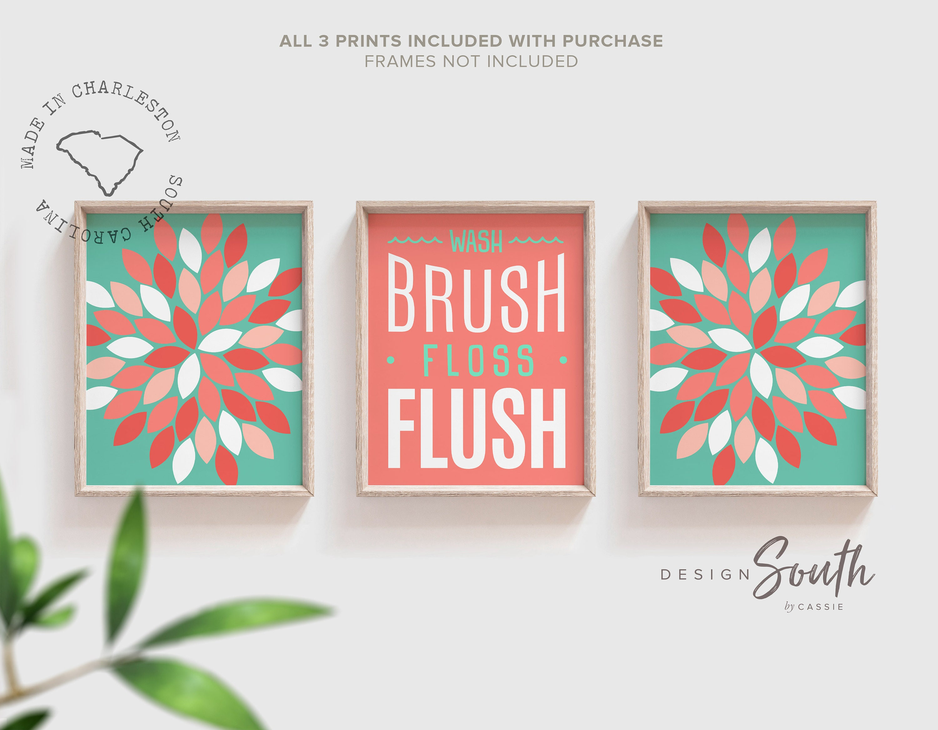 Bathroom Wall Decor Wash Brush Floss Flush Girls Bathroom Decor Coral Bathroom For Girl Dahlia Bathroom Flower Bathroom Art Baby Girl