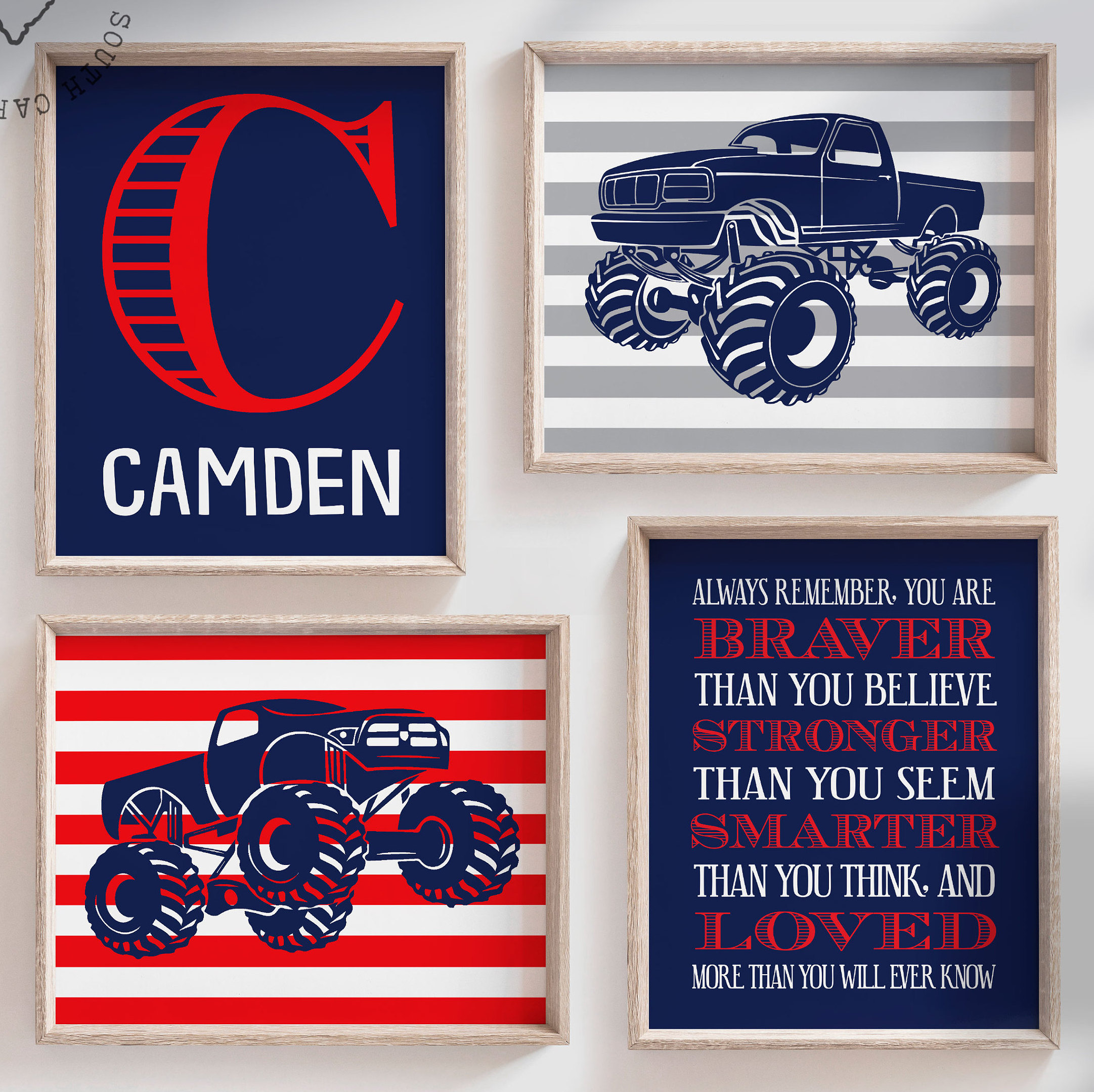 Monster truck boys bedroom decor, personalized name for ...